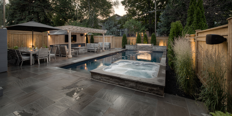 Evening image of a custom swimming pool
