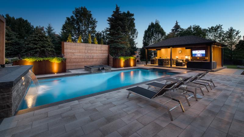 Backyard swimming pool installation