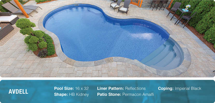 An inground swimming pool built by Pool Craft to custom specifications, featuring a kidney shape and imperial black coping.