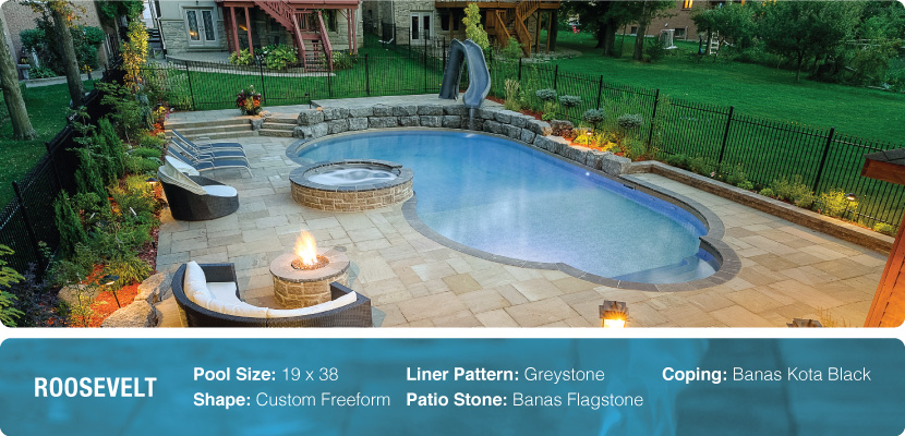 Inground vinyl swimming pool built in a custom freeform shape with a greystone liner pattern, banas flagstone and banas kota black coping. Designed and installed by Pool Craft.