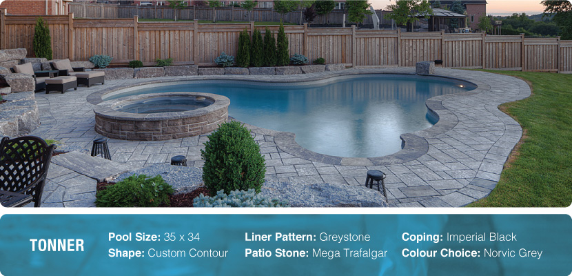 Custom swimming pool and spa in Aurora, featuring imperial black coping and built by the company Pool Craft