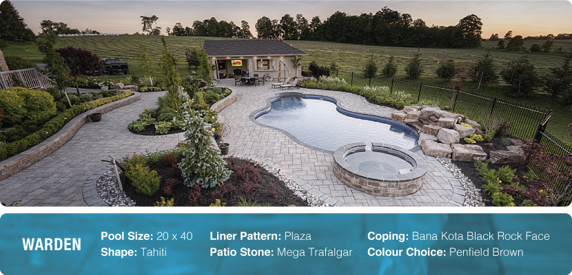 A custom swimming pool, designed with a tahiti shape, plaza liner and mega trafalgar patio stone. Installed by pool builder company Pool Craft in Newmarket.