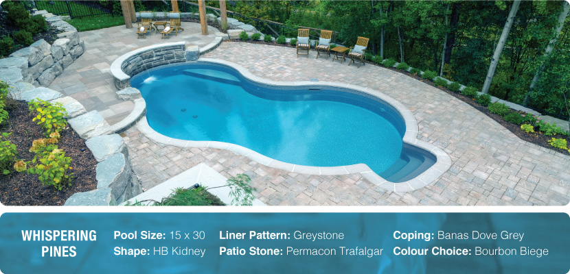 An inground swimming pool in Aurora with a custom HB kidney shape, greystone liner, permacon trafalgar patio stone and banas dove grey coping. Designed and installed by Pool Craft in Richmond Hill.