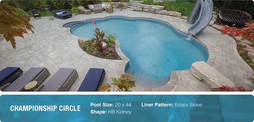 Custom swimming pool with slide designed and installed in Toronto by Pool Craft