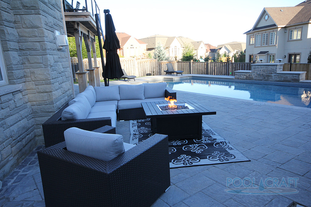 A custom inground pool constructed by Pool Craft for a residential homeowner in Vaughan