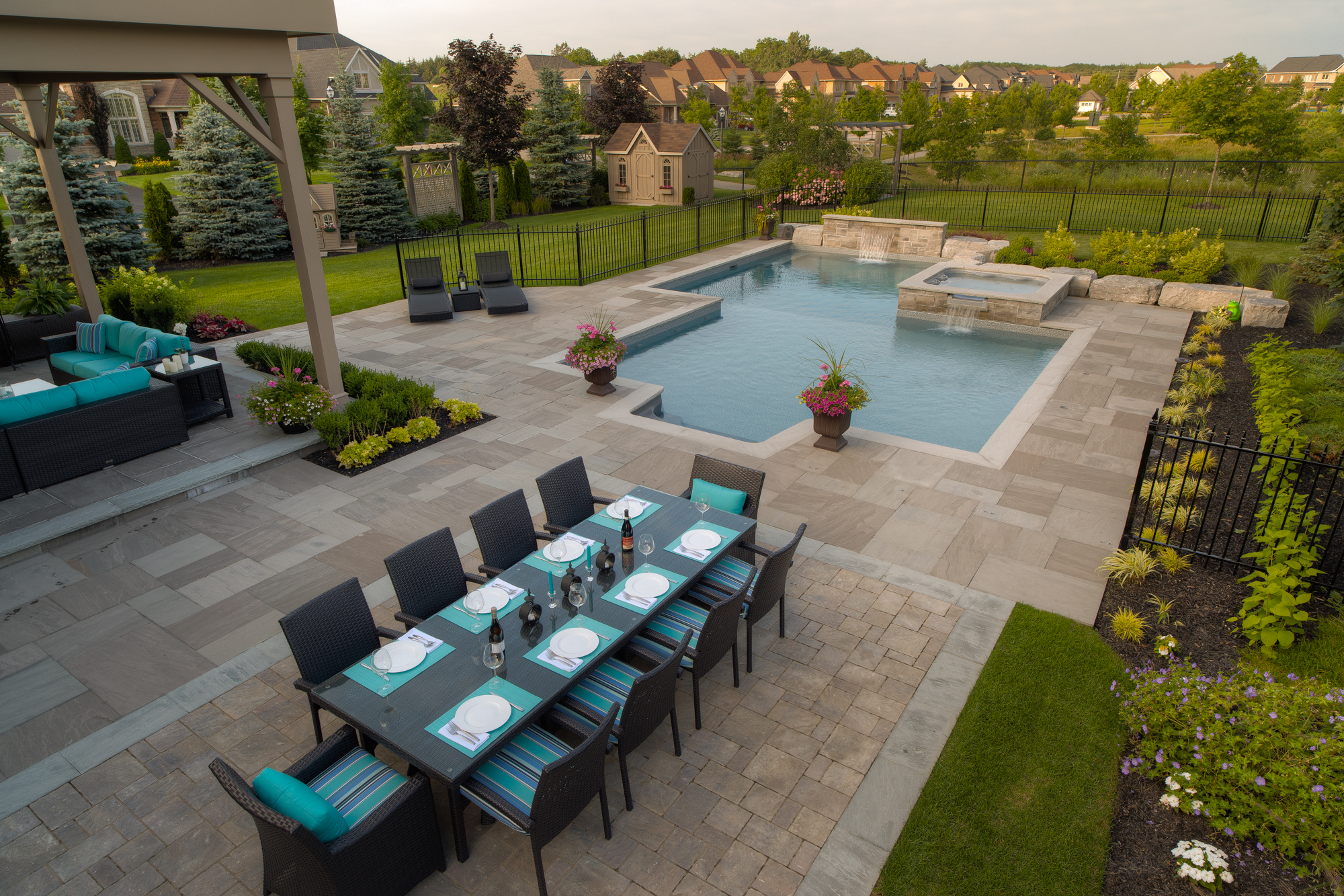 Custom swimming pool, designed and installed by Pool Craft in Richmond Hill