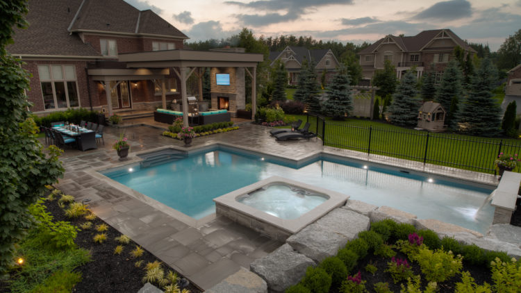 A residential swimming pool, designed and custom built by Pool Craft