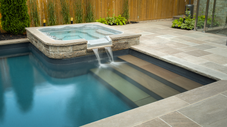 A swimming pool designed and installed by Pool Craft